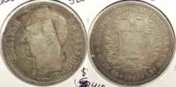 World Coins - VENEZUELA: 1902 5 Bolivares #WC63415