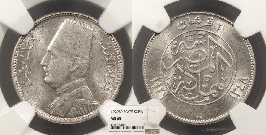 World Coins - EGYPT Faud I 1929 / AH 1348 2 Piastres NGC MS-63