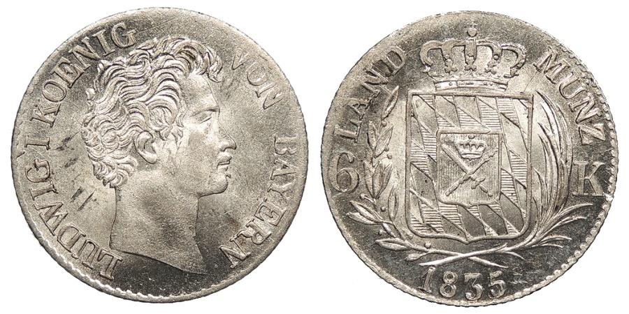 World Coins - GERMAN STATES Bavaria (Bayern) Ludwig I 1835 6 Kreuzer BU