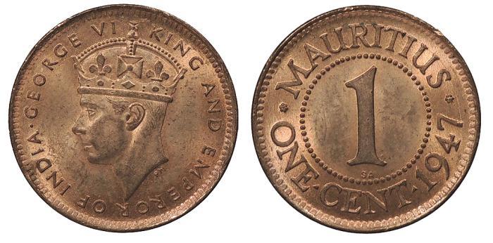 World Coins - MAURITIUS George VI 1947-SA Cent UNC