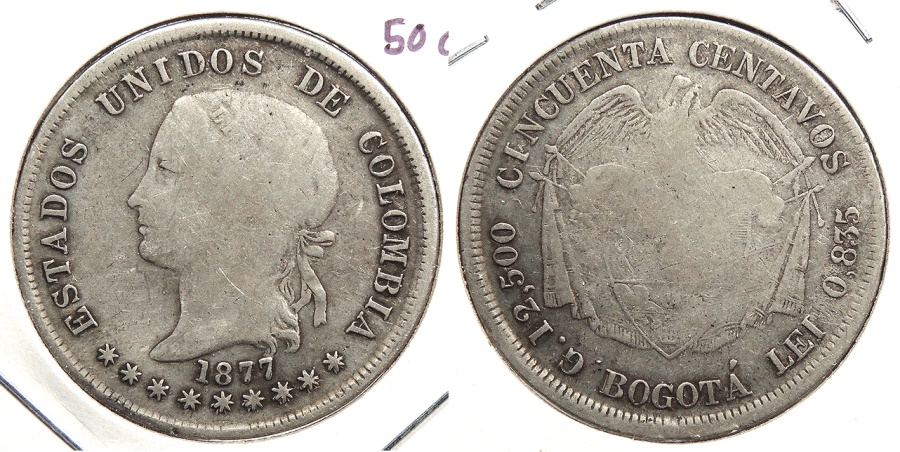 World Coins - COLOMBIA: 1877-BOGOTA 50 Centavos