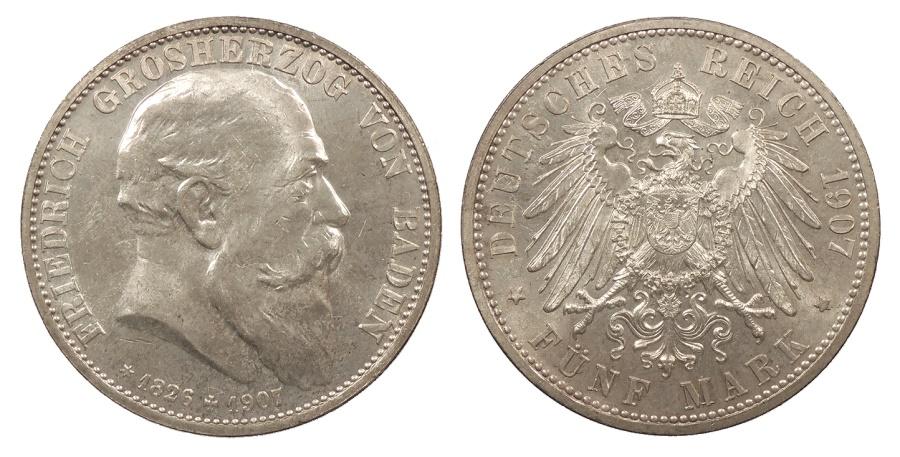 World Coins - GERMAN STATES Baden Friedrich I, Grand Duke 1907 5 Mark UNC