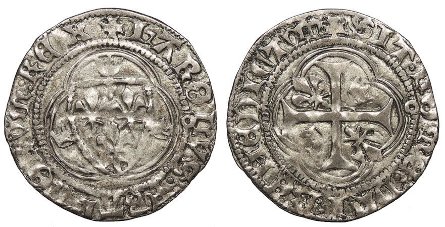 World Coins - FRANCE Charles VIII 1422-1461 Blanc a la Couronne Good VF