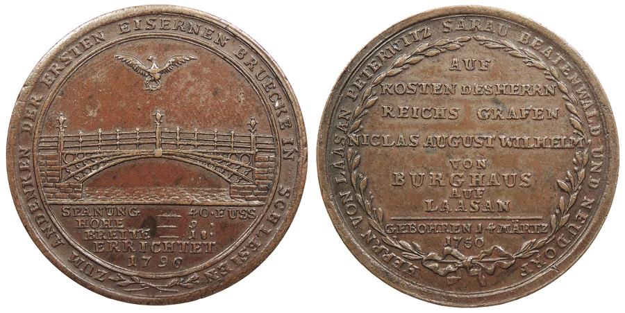 World Coins - GERMAN STATES Silesia (Schlesien) Laasen Unsigned. 1796 AE 36mm Medal EF