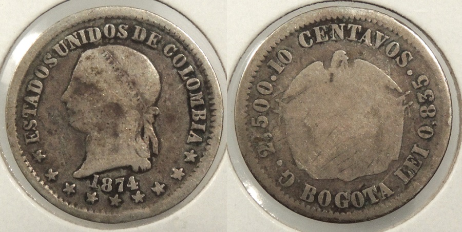 World Coins - COLOMBIA: 1874-BOGOTA 10 Centavos #WC63509