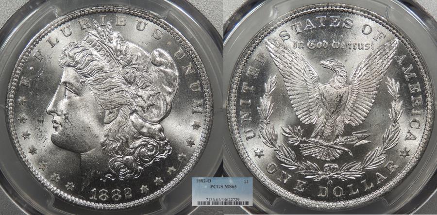 US Coins - 1882 O Morgan 1 Dollar (Silver) PCGS MS-65