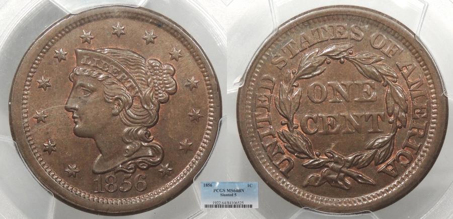 US Coins - 1856 Coronet 1 Cent Slanted 5 PCGS MS-64