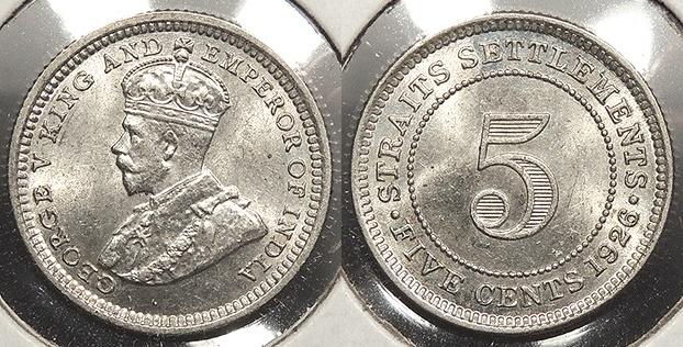 World Coins - STRAITS SETTLEMENTS: 1926 5 Cents