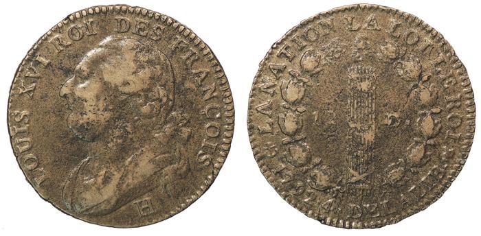 World Coins - FRANCE Louis XVI 1792-H 12 Deniers Good VF