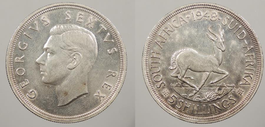 World Coins - SOUTH AFRICA: 1948 5 Shillings