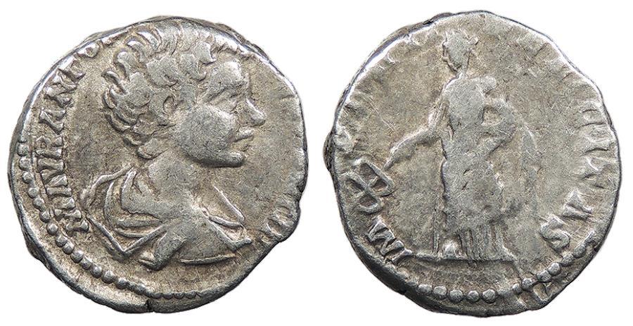 Ancient Coins - Caracalla, as Caesar 196-198 A.D. Denarius Rome Mint Good Fine