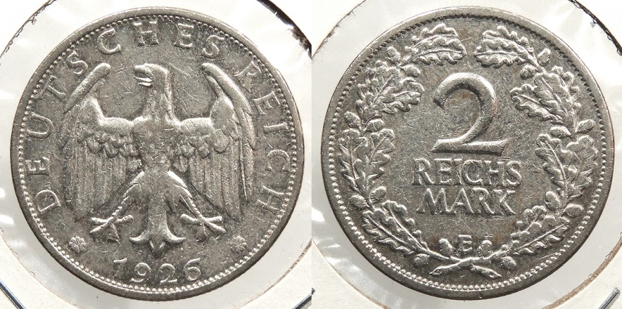 World Coins - GERMANY: 1926-E 2 Reichsmark