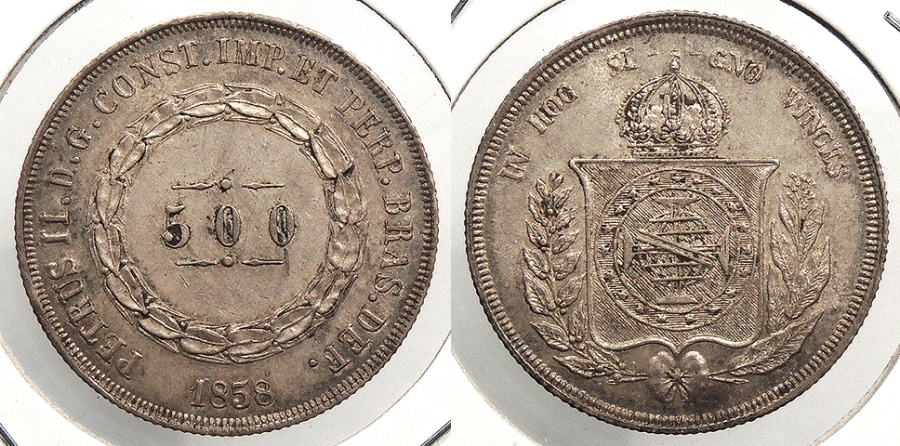 World Coins - BRAZIL: 1858 500 Reis