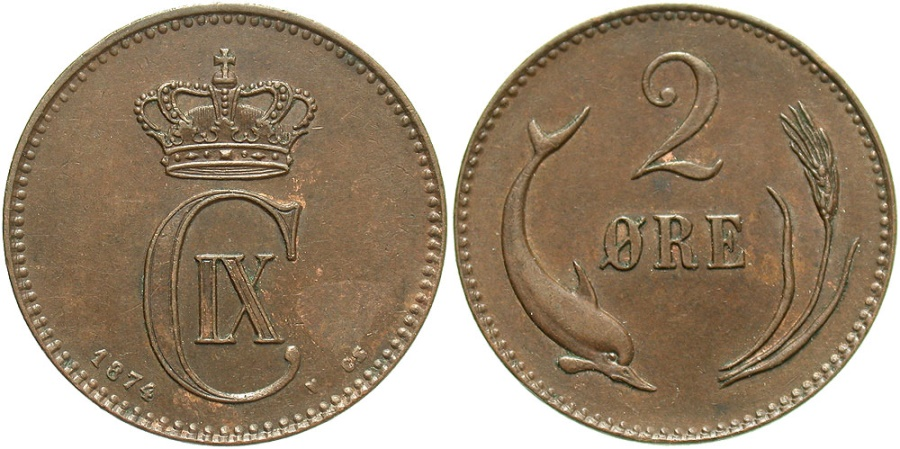 World Coins - DENMARK: 1874 2 Ore