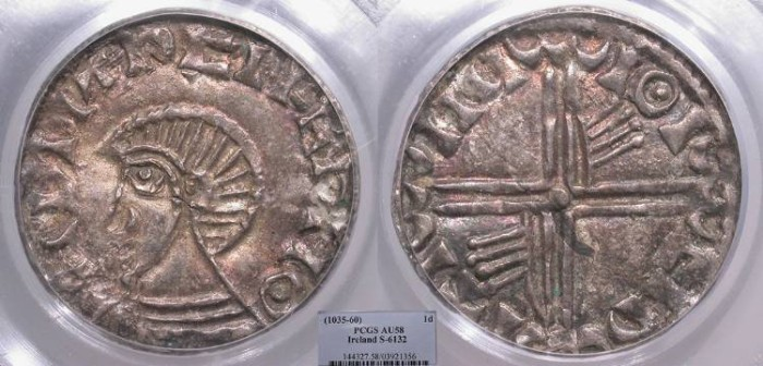 World Coins - IRELAND Hiberno-Norse (Viking) Rulers Time of Echmarcach mac Ragnaill to Murchad mac Diarmata Circa 1035-1060 Penny PCGS AU-58