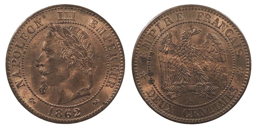World Coins - FRANCE Napoleon III 1862-K 2 Centimes UNC