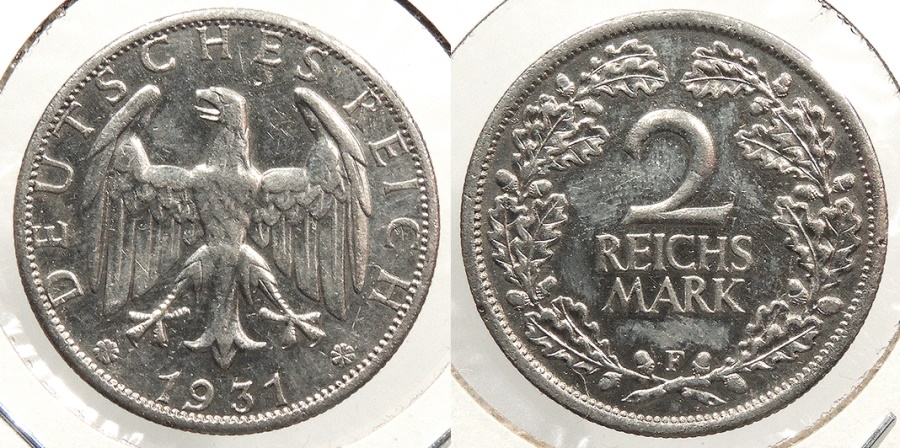 World Coins - GERMANY: 1931-F Better date 2 Reichsmark