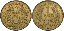 World Coins - TUNISIA: 1945 1 Franc