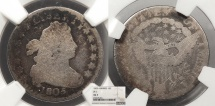 Us Coins - 1805 Draped Bust 10 Cents (Dime) 4 Berries; JR-2 NGC AG-3