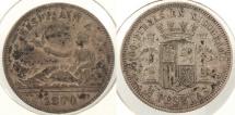 World Coins - SPAIN: 1870 (74) 2 Pesetas