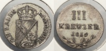 World Coins - GERMAN STATES: Baden 1812 3 Kreuzer