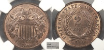 Us Coins - 1870 2 Cents NGC MS-65 BN