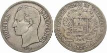World Coins - VENEZUELA: 1926 5 Bolivares