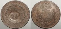 World Coins - BRAZIL: ND (1835) Countermark on 1825-R 40 Reis 20 Reis