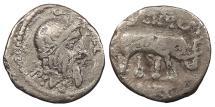 Ancient Coins - Q. Caecilius Metellus Scipio 47-46 B.C. Denarius Military mint in Africa Fine