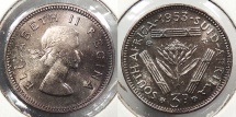 SOUTH AFRICA: 1953 Proof 3 Pence