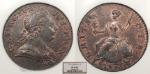 World Coins - GREAT BRITAIN George III 1770 Halfpenny NGC MS-63 RB
