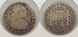 World Coins - PERU: 1804-LIMAE JP Charles IV 2 Reales