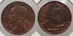 World Coins - ITALY: 1917-R Centesimo