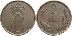 World Coins - DENMARK: 1906 2 Ore