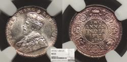 World Coins - INDIA George V 1917 2 Annas NGC MS-63