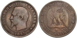 World Coins - FRANCE: 1857 K 10 Centimes