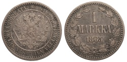 World Coins - RUSSIA Finland Alexander II 1865-S Markka EF
