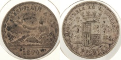 World Coins - SPAIN: 1870 (74) 2 Pesetas