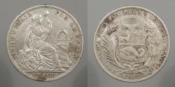 World Coins - PERU: 1893-LIMA TF Sol