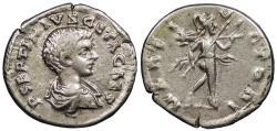 Ancient Coins - Geta, as Caesar 198-209 A.D. Denarius Laodicea ad Mare Mint Good VF