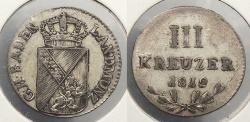 World Coins - GERMAN STATES: Baden 1812 3 Kreuzer