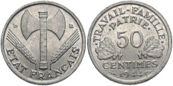 World Coins - FRANCE: 1944-B 50 Centimes