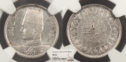 World Coins - EGYPT Farouk 1942 / AH 1361 2 Piastres NGC MS-64
