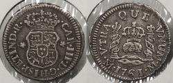 World Coins - MEXICO: Spanish Colonial 1761-Mo Charles III 1/2 Real