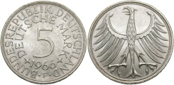 World Coins - GERMANY (WEST): 1966 F 5 Mark