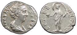 Ancient Coins - Diva Faustina I Died 141 A.D. Denarius Rome Mint Good VF