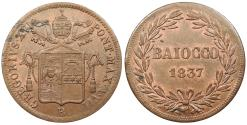 World Coins - ITALIAN STATES Papal States Gregory XVI Anno VII / 1837-R Baiocco UNC