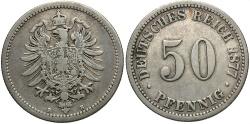 World Coins - GERMANY: 1877-B 50 Pfennig