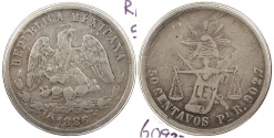 World Coins - MEXICO: 1886/1-Pi R/B 50 Centavos