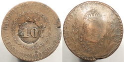 World Coins - BRAZIL: ND (1835) Pedro I counterstamp on Brazil 1832-R 80 Reis 40 Reis